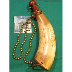 Small Engraved Powder Horn with brass Chain hangar. Wood stopper and base plate, Eagle, Whitetail De