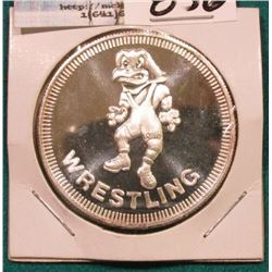 """The University of Iowa Hawkeyes One Troy Ounce .999 Fine Silver"", ""Wrestling"", Depicts 'Herky the H"
