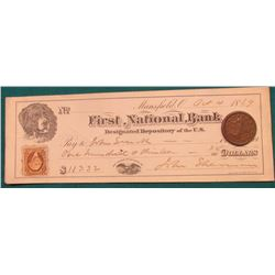 "1853 U.S. Large Cent. VF. Nice Chocolate Brown & an Oct. 4, 1869 ""First National Bank Designated Dep"