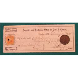 1852 U.S. Large Cent, EF, Superb Chocolate Brown & Feb. 14th, 1866 Promissory Note with George Washi