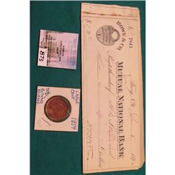 1854 U.S. Large Cent, 75% rotated reverse, VF & Jan. 5, 1890 Howe & Co. Mutual National Bank, Troy,