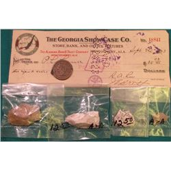 "1857 U.S. Large Cent, VF damaged; (4) Native American Flint Artifacts; & 1923 Check ""The Georgia Sho"