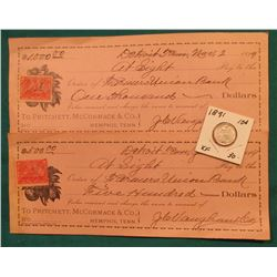 "1891 Liberty Seated Dime, EF; & June 26, 1899 Bank Draft with 2c Documentary Stamp from ""Pritchett,"