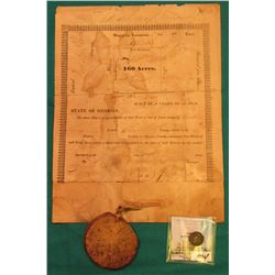 1832 State of Georgia Survey Plat for Burt County, with huge seal attached by Ribbon; & 1837 Capped