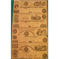"1840 Un-cut Sheet State of Illinois ""Internal Improvement Office Secretary of the Board of Public Wo"