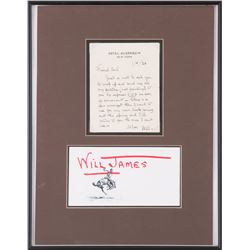 Will James Letter framed together with Will James print