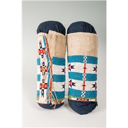 "Blackfeet Woman's Beaded Leggings, 10"" tall"