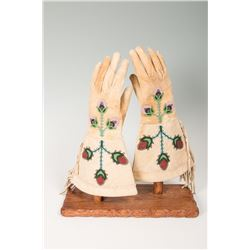 """Santee Sioux Beaded Woman's Gauntlets, 13 ½"""" long"""
