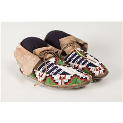 """Ute Fully Beaded Woman's Moccasins, 9 ½"""" long"""