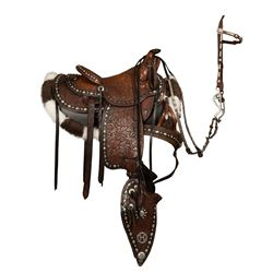 Edward H. Bohlin (1896-1981) Fully Tooled Black and Brown Silver Mounted Parade Saddle