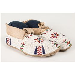 "Cheyenne Fully Beaded Man's Moccasins, 10 ½"" long"