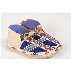 "Sioux Fully Beaded Man's Moccasins, 10"" long"