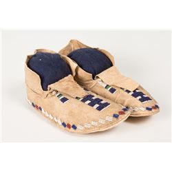 "Cheyenne or Sioux Beaded Woman's Moccasins, 9 ½"" long"