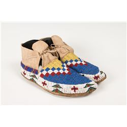 "Sioux Fully Beaded Man's Moccasins, 10 ½"" long"