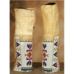 "Northern Plains Beaded Woman's Leggings, 21 ½"" tall"