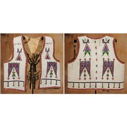 Ogallala Sioux Fully Beaded Vest, 19  tall x 18  wide