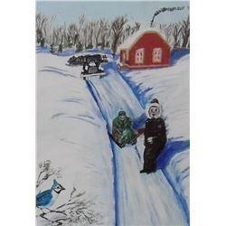 Robert A. Langdon original Winter sleigh painting