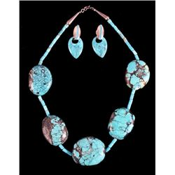Native American Turquoise Nugget Necklace Earrings