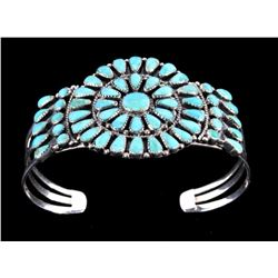 Navajo Turquoise Petit Point Sterling Bracelet