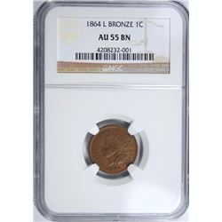 1864-L BRONZE INDIAN HEAD CENT, NGC AU-55 BROWN