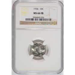 1936 MERCURY DIME, NGC MS-66 FULL BANDS