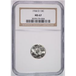 1944-D MERCURY DIME, NGC MS-67