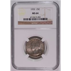 1932 WASHINGTON QUARTER NGC MS64