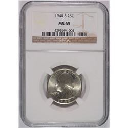 1940-S WASHINGTON QUARTER, NGC MS-65