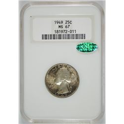 1949 WASHINGTON QUARTER, NGC MS-67!! CAC, TONED, ONLY 20 THIS GRADE WITH CAC!!!!