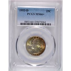 1953-D WASHINGTON QUARTER PCGS MS-66+ AMAZING ORIGINAL TONE