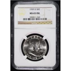 1959-D FRANKLIN HALF DOLLAR, NGC MS-65 FBL
