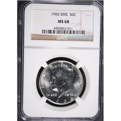 1966 SMS KENNEDY HALF DOLLAR, NGC MS-68