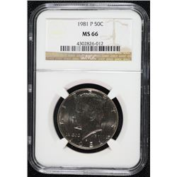 1981-P KENNEDY HALF DOLLAR, NGC MS-66 NGC PRICE GUIDE=$140.00