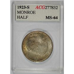 1923-S MONROE HALF DOLLAR, ACG GEM BU GREAT COLOR!