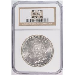 1881 MORGAN DOLLAR NGC MS63 WHITE
