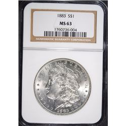 1883 MORGAN DOLLAR NGC MS63 WHITE