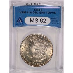 1888 MORGAN SILVER DOLLAR, VAM 11-A DOUBLE EAR, ANACS MS-62 TOP-100