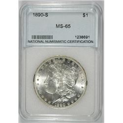 1890-S MORGAN SILVER DOLLAR, NNC GRADED GEM BU+  WHITE!