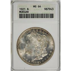 1921 MORGAN DOLLAR ANACS MS 64