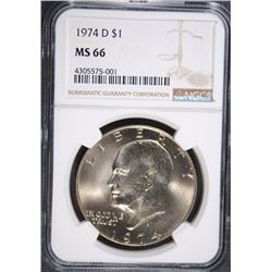 1974-D EISENHOWER DOLLAR, NGC MS-66
