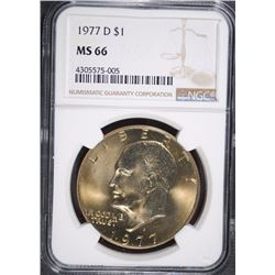 1977-D EISENHOWER DOLLAR, NGC MS-66