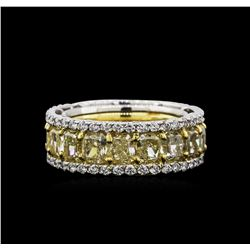 EGL USA Cert 12.82ctw Fancy Yellow Diamond Ring - Platinum and 18KT Yellow Gold