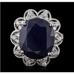 14KT White Gold 11.61ct Sapphire and Diamond Ring