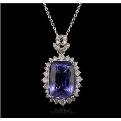 14KT White Gold 6.63ct Tanzanite and Diamond Pendant With Chain