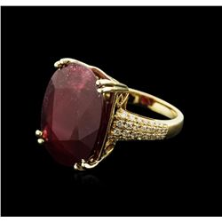 14KT Yellow Gold 17.47ct Ruby and Diamond Ring