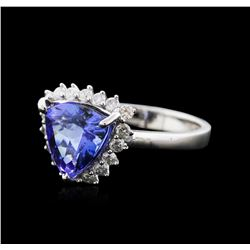 14KT White Gold 3.44ct Tanzanite and Diamond Ring