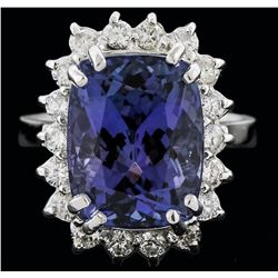 14KT White Gold 8.25ct Tanzanite and Diamond Ring