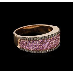 1.08ctw Pink Sapphire and Diamond Ring - 14KT Rose Gold
