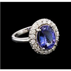 3.47ct Tanzanite and Diamond Ring - 14KT White Gold