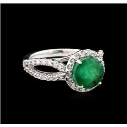 2.20ct Emerald and Diamond Ring - 14KT White Gold